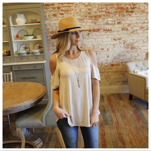 Oatmeal cold shoulder tunic